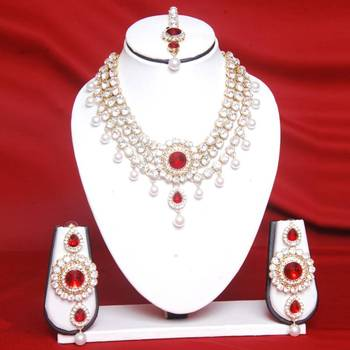 Stone With Maroon Color Necklace Set Online Shopping for Necklace Set by Swarajshop Jewellery