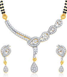 Buy Bewitching Gold and Rhodium Plated CZ Mangalsutra Set For Women mangalsutra online
