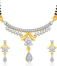 Buy Beguiling Gold and Rhodium Plated CZ Mangalsutra Set For Women mangalsutra online