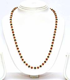 Buy Anvi's black beads chain with black, red crystals mangalsutra online