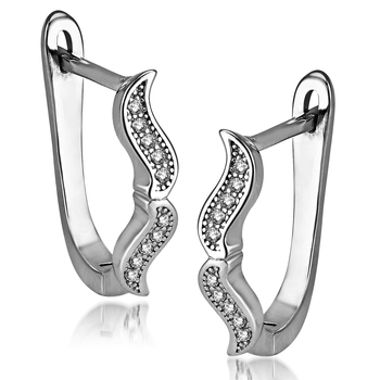 Sterling Silver Too Mooch earrings with CZ stones