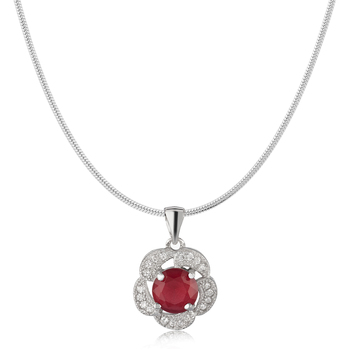 Sterling Silver Bloom Red pendant with CZ stones for Women
