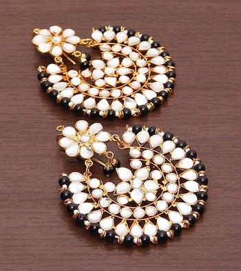Black Beads and Kundan Embellished Dangler Earrings