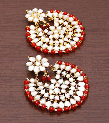 Red Beads and Kundan Embellished Dangler Earrings