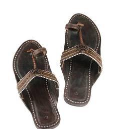 Buy eKolhapuri Dark brown color  handmade ladies sandal footwear online