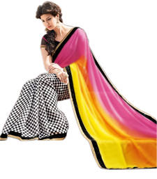 Buy pink and yellow printed chiffon saree with blouse chiffon-saree online