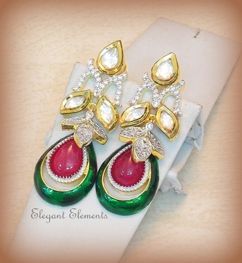 Dazzling cut kundan and a.d. earring