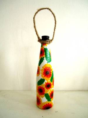 Handpainted bottle planters-Yellow and orange