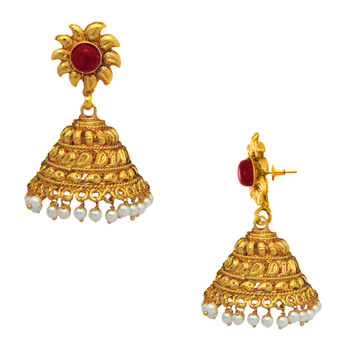 Traditional Ethnic Red Sun Flower Gold Plated Jhumki Dangler Earrings with Crystals for Women