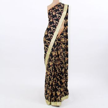 Black Floral Silk Saree