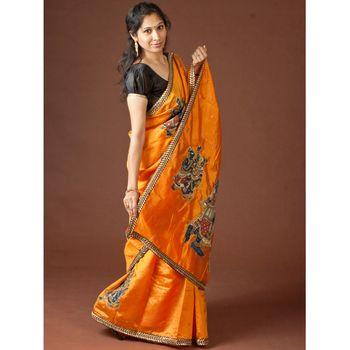 Orange Radha Krishna Kalamkari