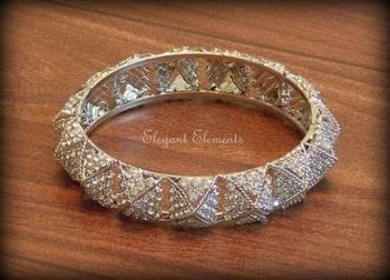 Bollywood style designer zircon stud silver plated bangle kada