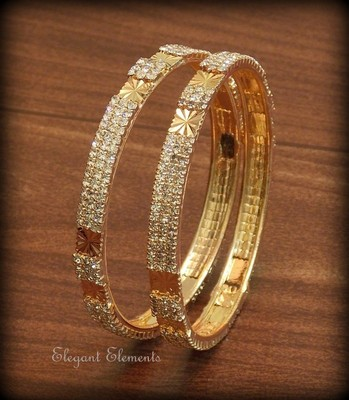 2.6,Bollywood style designer zircon stud golden plated bangles(set of 2, 2.6)