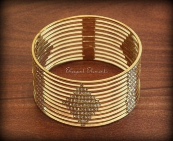 Bollywood style designer zircon stud gold plated bangle kada(1 pc.)