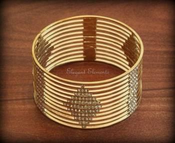 2.6, bollywood style designer zircon stud gold plated bangle kada(1 pc.)