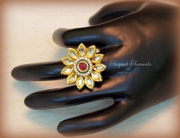 Lotus flower, kundan and AD stud adjustable ring