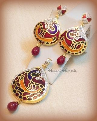 Hot sale!!!! peacock design ad meena pendant set