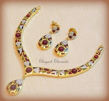 Traditional and elegant, multi-colored enameling with cz stones necklace set