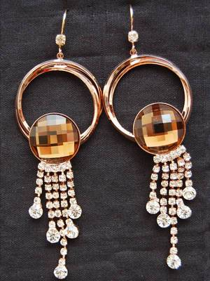 Maayra Smart Golden AD Party Hanging Earrings