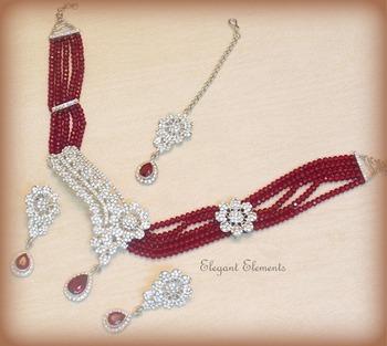 Stylish n elegant zircon & mehroon colored stone stud necklace set