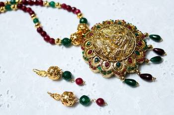 Temple Pendant Necklace and Earrings