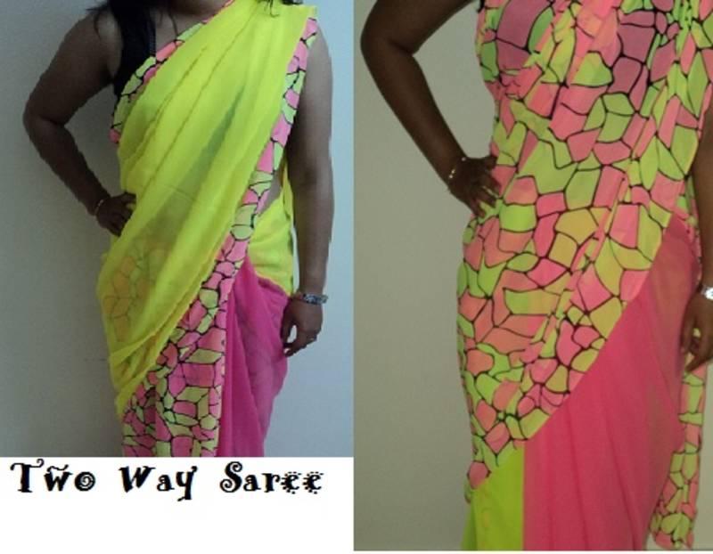 Buy Neon Geometric Print Saree Online