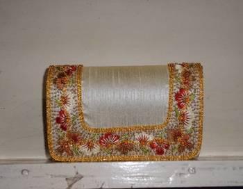 Raw silk resham work clutch