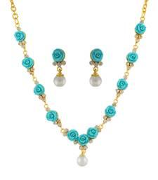 Buy Blue Coral Rhodium necklace-sets necklace-set online