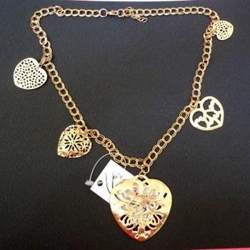 heart statement necklace golden