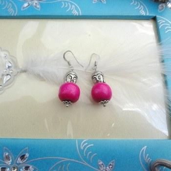 the buddha earrings-dark pink
