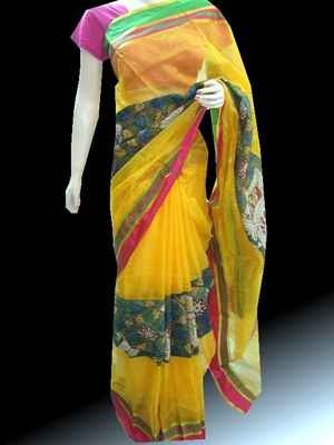 Beautiful Yellow Kota Silk Saree with Kalamkari patch work