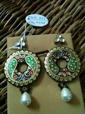 tanjore art peacock earring
