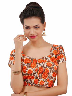 Orange Bhagalpuri Silk stitched blouse