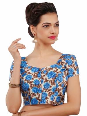 Blue Bhagalpuri Silk Stitched Blouse