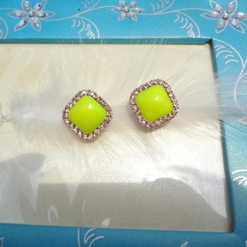 fluorescent yellow green clip back studs
