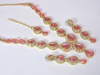 Pink Tilak stone Necklace set