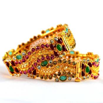 polki moti stone bangles with skrew system and openable size-2.8
