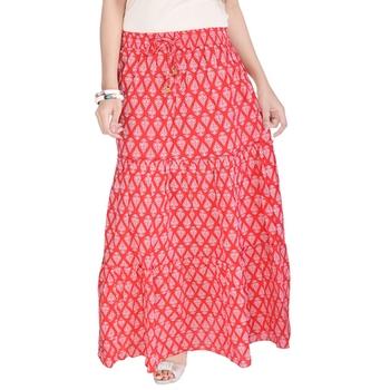 Red Jaipuri Printed Cotton Long Skirt