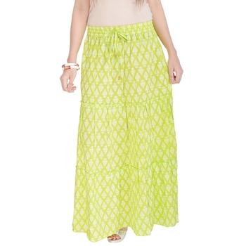Light Green Jaipuri Printed Cotton Long Skirt