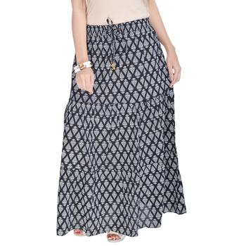 Black Jaipuri Printed Cotton Long Skirt
