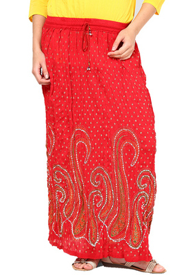 Red Sequenced work Cotton Long Skirt