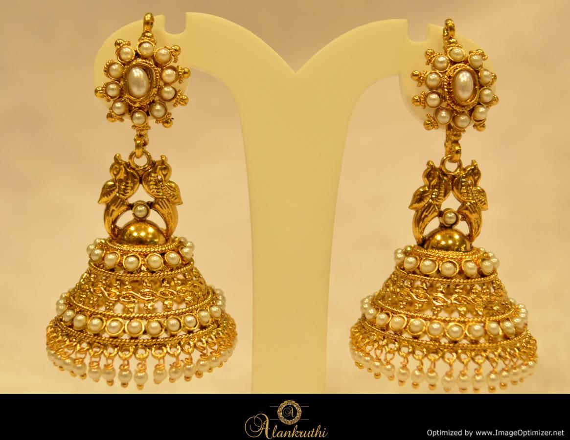 Alankruthi Fancy Gold Jhumka 18 Online