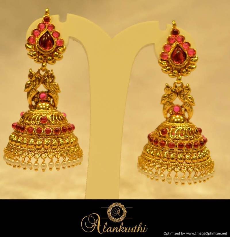 Alankruthi Fancy Gold Jhumka 27 Online