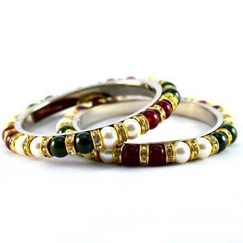 moti beads pearl bangles  size-2.4,2.6,2.8