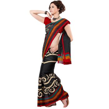 Hypnotex Jute Silk Black Color Designer Saree Fig2311E