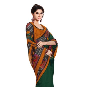 Hypnotex Bhagalpuri Green Color Designer Saree Fig2312A