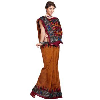 Hypnotex Bhagalpuri Brown Color Designer Saree Fig2312C