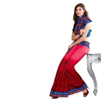 Hypnotex Bhagalpuri Red  Color Designer Saree Fig2314B
