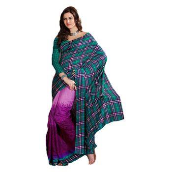 Hypnotex Bhagalpuri Blue and Purple Color Designer Saree Fig2314D