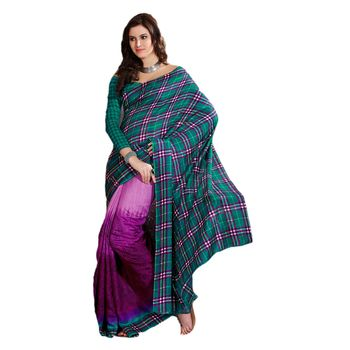 Hypnotex Bhagalpuri Blue and Purple Color Designer Saree Fig2314D